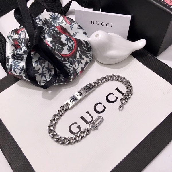 Top brand name 316L stainless steel punk bracelet with ghost design for women bracelet in 18.5cm wedding jewelry gift PS5399A-6