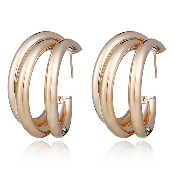 Européen et américain individualité vent froid simple boucles d'oreilles en métal boucles d'oreilles multicouche anneau net rouge même type de fabricants femmes direc