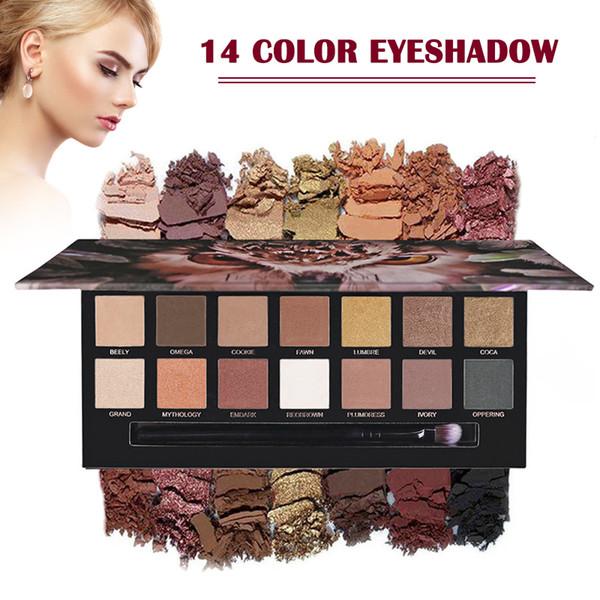 14 Color Eye Shadow Makeup Palette Waterproof Nude Color Natural Flash Matte Eye Shadow Palette JIU55