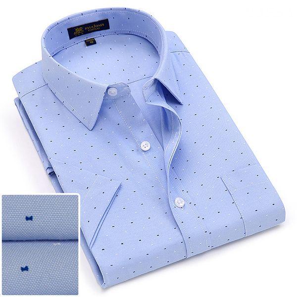 2019 été col rabattu manches courtes tissu oxford en tissu doux impression hommes d'affaires chemises casual chic avec poche poitrine S-4xl 8color