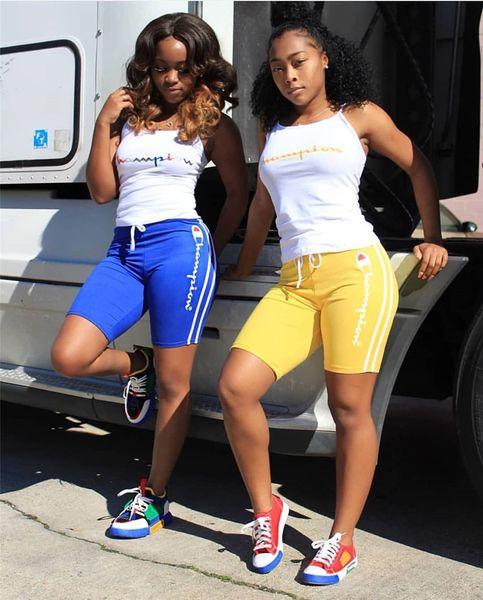Carta impresa Campeones Mujeres Trajes de verano Camisetas sin mangas + pantalones cortos 2 piezas traje deportivo S-3XL Sportswear Joggers Leggings Hot A32607