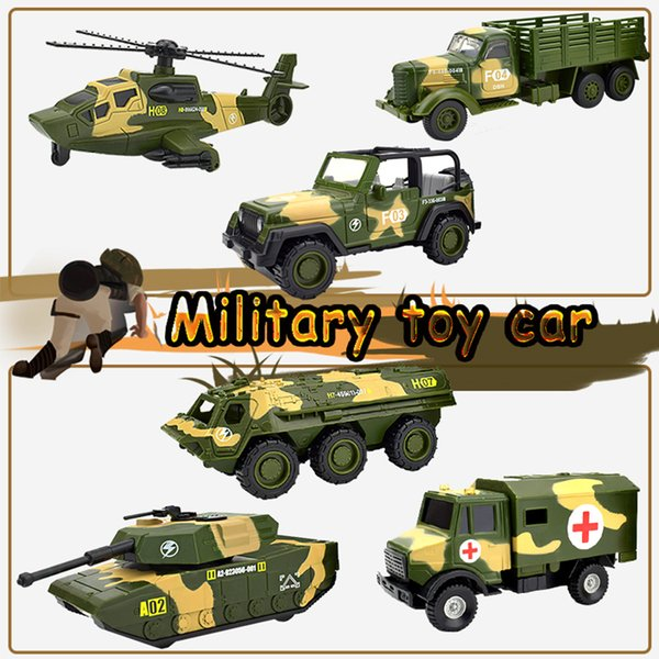 Inertia Military Car Toys for Children Die-cast Alloy Tank Truck SUV Armored Vehicle Pull Back Model Cars for Kids Gifts Home Decoration