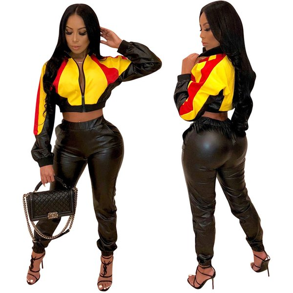 PU leather Women Jacket two Piece Set Outfits coat Leggings Tracksuit Crop Top Pants jogging suit sportswear sweatsuit wholesale 222