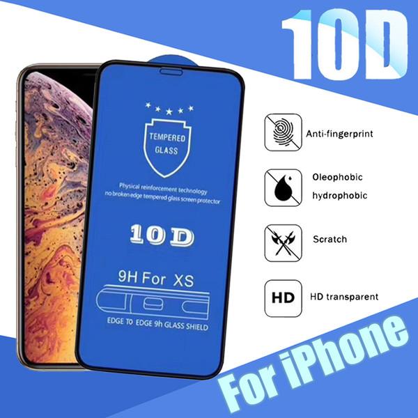 9H Protecteur D'écran 10D En Verre Trempé Hard Edge Téléphone Protecteur Antidéflagrant Protecteur Pour iPhone 11 Pro Max XS XR X 8 7 6 6S Plus