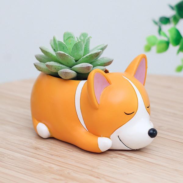 Neue kreative Karikaturhunde blühen Topf-Harz-Handwerksblumenvasenharz saftiges nettes Schlaftier für Rückenschüler-Pflanzer-Topfgeschenk