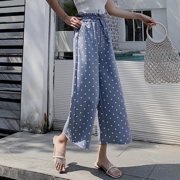 d3b6824d2da3 Women Casual Pants Summer 2019 New Chic Korean Version Chiffon Wave Points Wide  Leg Trousers High