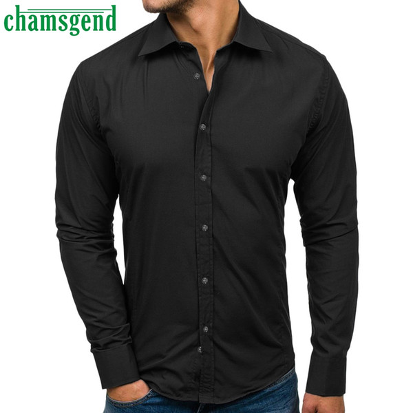 CHAMSGEND Men Top 2019 New Men's Casual Long Sleeve Blouse Fashion Solid Design Buttons Shirt Turn-down Collar men Clothing #35