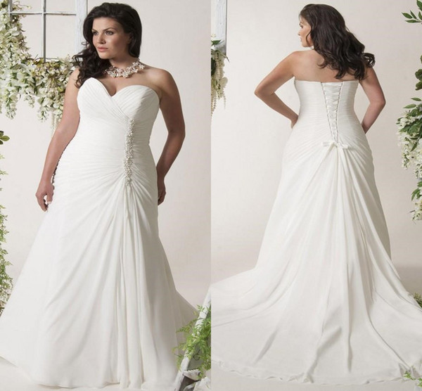 Discount Plus Size Beach Chiffon Wedding Dresses With Beaded Crystal  Sweetheart Lace Up Back Pleated Garden Bridal Informal Wedding Gown Elegant  ...