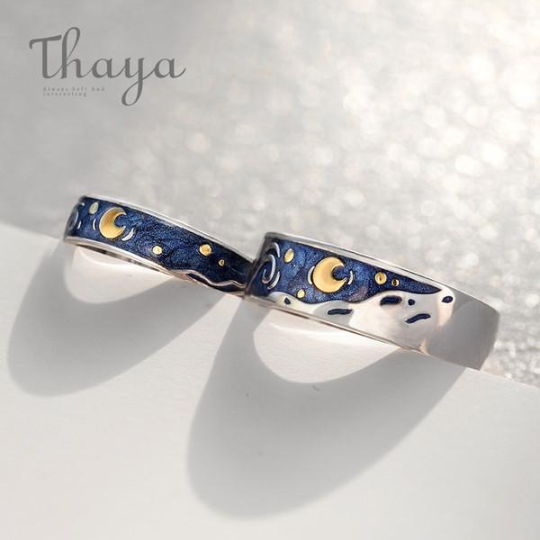 Thaya Van Gogh's Enamel Couple Rings Sky Star Moon S925 Silver Glitter Rings Engagement Ring Wedding Jewelry For Women Y19061203