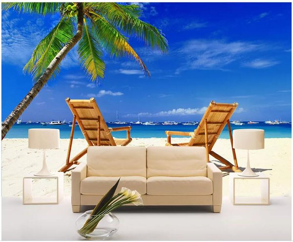 Swell 3D Wallpaper Custom Photo Mural Beach Wooden Chair Coconut Tree Seascape Tv Background Wall Home Decor Living Room Wallpaper For Walls 3 D Computer Inzonedesignstudio Interior Chair Design Inzonedesignstudiocom