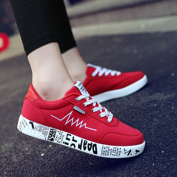 2019 Fashion Couple Vulcanized Shoes Sneakers Ladies Lace-up men Casual Shoes Breathable Walking Canvas Flat