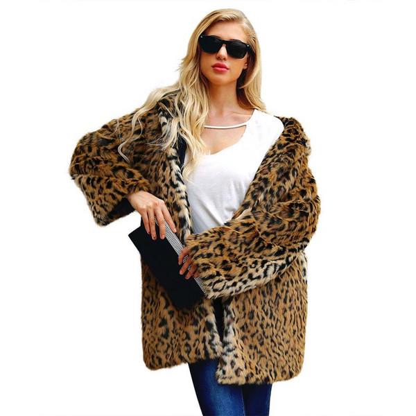 Cappotti di pelliccia sintetica stampa leopardo signore inverno caldo cappotto lungo Parka streetwear manica lunga casual cappotto di spessore 2018 più recente