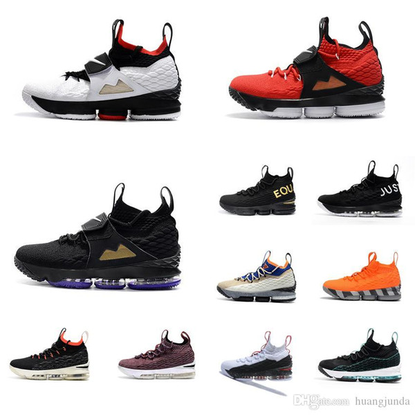 Cheap Men Kith X Lebron 15 Diamond Turf low tops basketball shoes Bred Black Red White Gold Purple Yellow youth kids sneakers boots with box