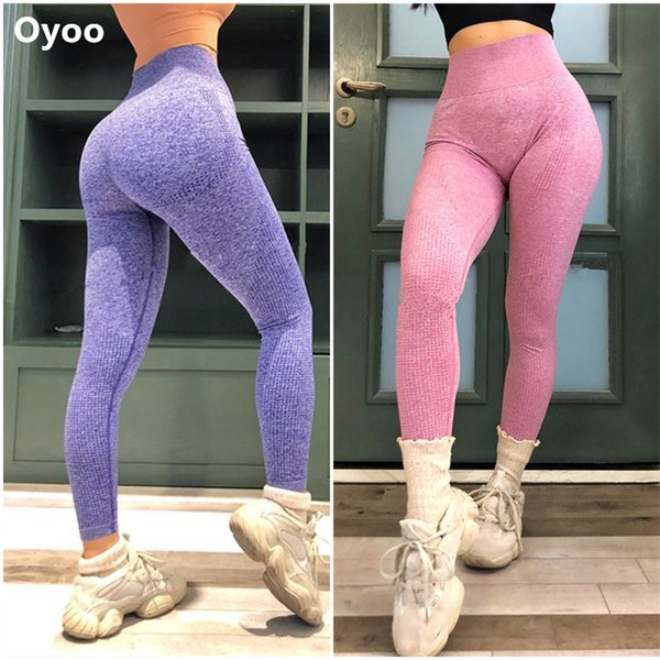 Oyoo pink seamless vital leggings women's booty push up yoga pants super soft high waist sport gym tights sexy fitness clothing