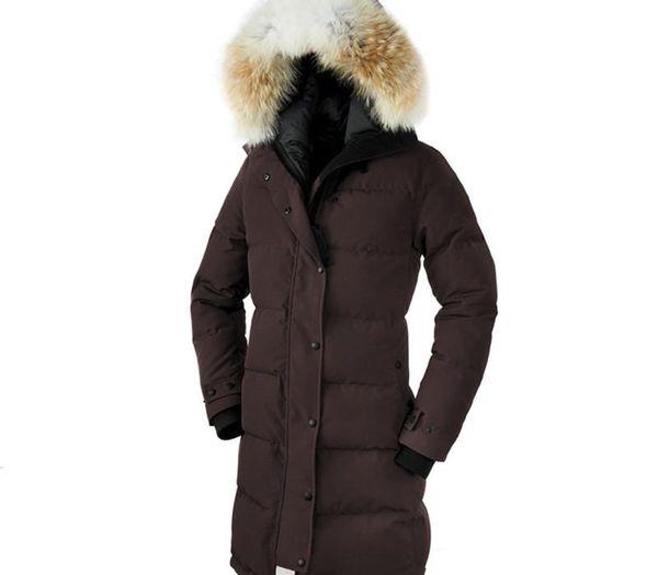 venta Canadá calientes de las mujeres Shelburne Aire libre piel Down parka Hiver caliente grueso a prueba de viento ganso Espesar Fourrure chaqueta con capucha de Kensington