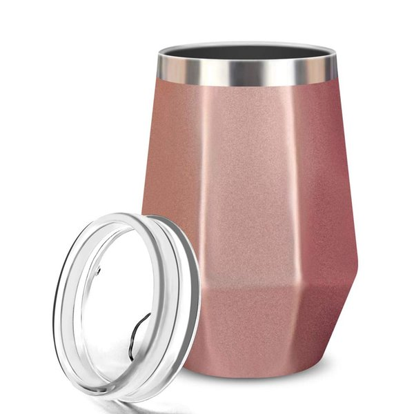Wine Tumbler, FlatLED Insulated Wine Glass, Stainless Steel Stemless Vacuum Outdoor Wine Glasses with Lid, 12OZ