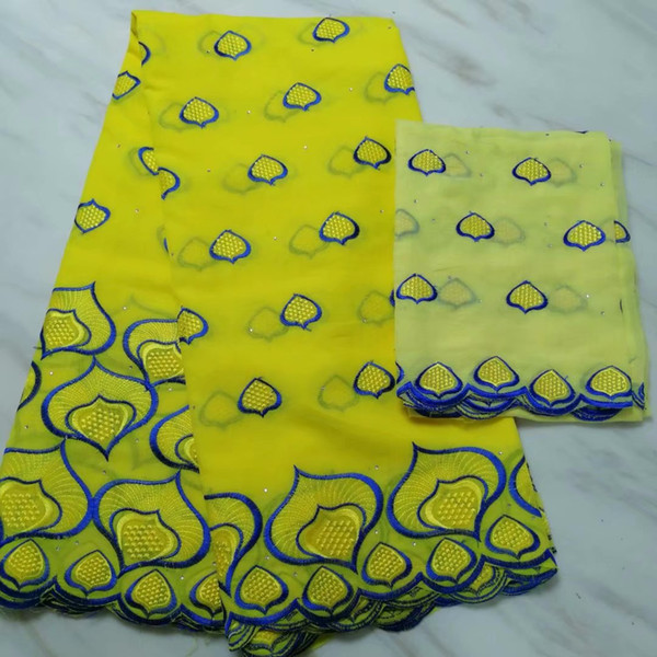 6colors (5+2yards/set) beautiful embroidered African cotton lace fabric yellow Swiss voile lace fabric for party dress
