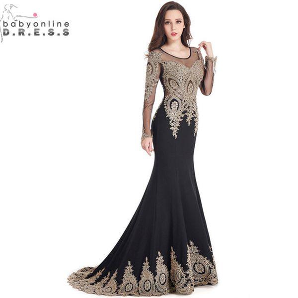 Robe De Soiree Longue Real Kaftan Dubai Nero Maniche Lunghe Sirena Abiti Da Sera Abiti Da Sera Formali Cina Vestido Longo Y190525