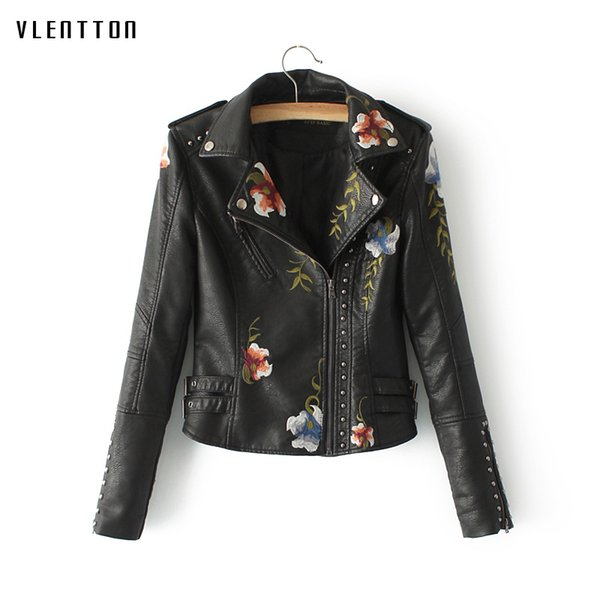 2019 New women's leather jacket Short Long sleeve Faux Leather Jacket Embroidery spring autumn Slim Bikers coat female