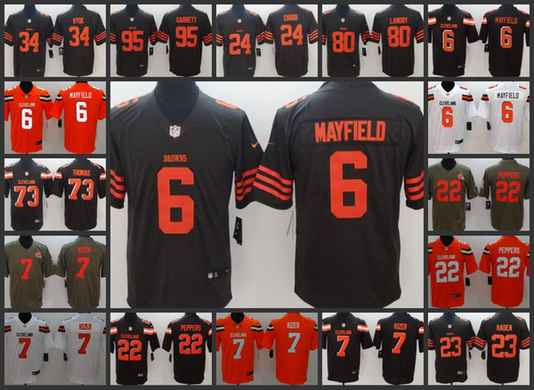hot sale online b8f10 ccd35 Cleveland Men Browns Jersey #6 Baker Mayfield 34 Carlos Hyde 22 Jabrill  Peppers 95 Myles Garrett Women Youth Limited Jerseys White Suit Cheap Suits  ...