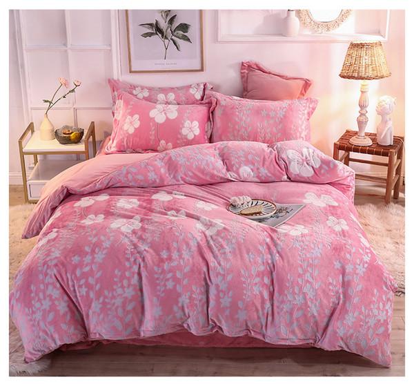 Coral caldo velluto vestito addensare Falais quattro pezzi double-face autunno velluto di cristallo set biancheria da letto lenzuolo in pile e l'inverno di stampa biancheria da letto