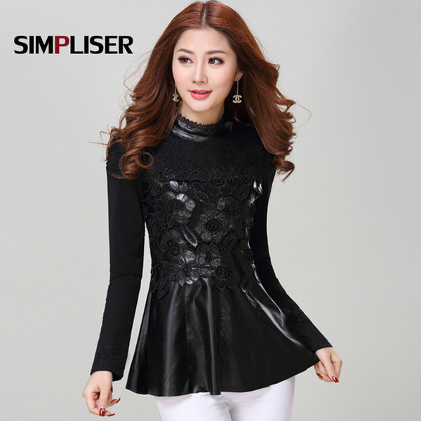 Elegant Women Leather Shirts 2019 Sim Fit Lace Floral Female Shirts Slim Fit Black Tops Ladies Fashion Cloth Plus Size 3xl