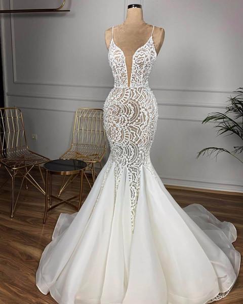 Robes de mariée sexy pleine dentelle Spahetti sirène Vintage dos nu chérie robe de mariée bihemian