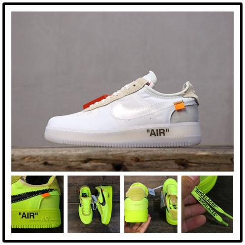 2019 New OFF Running Shoes Women Mens Trainers Forced One Skateboard Classic Green White Black Sneakers Air Force 1 Volt shoes A03