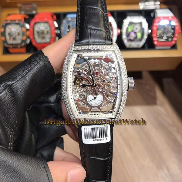 Новая мужская коллекция Cintree Curvex 8880 B S6 SQT D Skeleton Dial Серебряный корпус с бриллиантами Автоматические механические мужские часы Кожаный ремешок