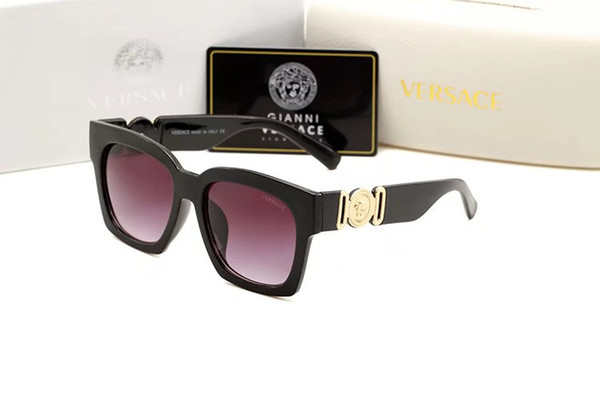 1Pair High Quality Round Metal Sunglasses For Mens Women Sun glasses Gold Frame Black Glass Lens With Box Case
