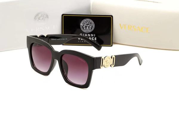 1 paire de lunettes de soleil rondes en métal de haute qualité pour hommes femmes lunettes de soleil or cadre noir lentille en verre avec la boîte de cas