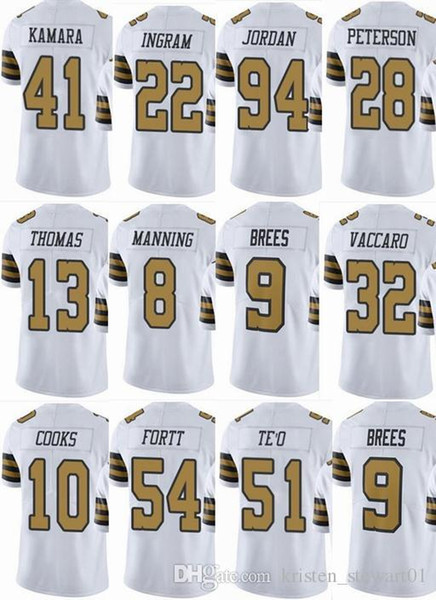 reputable site 5bb0e b82d2 2019 SAINTS New Orleans #9 Drew Brees #41 Alvin Kamara #13 Michael Thomas  #8 Archie Manning Men Women Youth Color Rush Elite Football Jerseys From ...