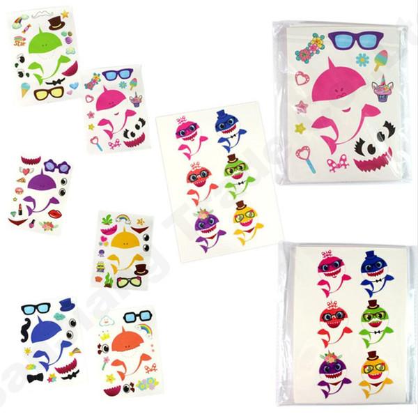 24pcs/Lot Baby Shark Party Supplies Sticker Game Boy Girl Paster DIY Cartoon Toy Decor Kids Room Wall Decor Car Cellphone Stickers A61306