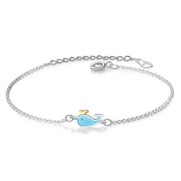 Fashion Blue Whale Silver Plated Bracelet Sweet Dolphin Little Fish Wristband Jewelry for Women Girls Party Gift
