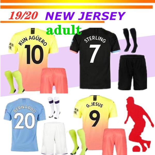 19 20 adult soccer jersey city 2019 2020 G. JESUS MAHREZ DE BRUYNE KUN AGUERO football shirt MENDY MAN uniforms away manchester men kit