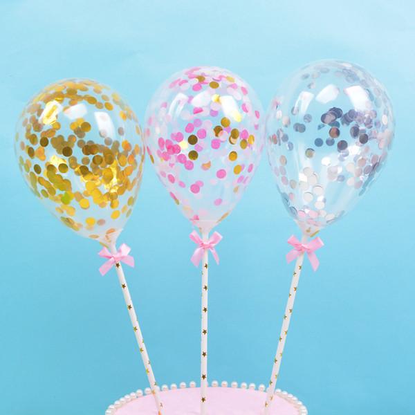 Compre Fiesta De Cumpleaños Decoraciones Para Pasteles 50 Juegos Por Lote Globos Transparentes Con Lentejuelas Inserciones Para Pasteles Decoración