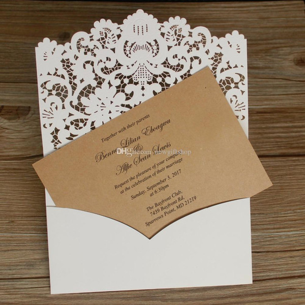 83095ff1c2e4a 3D Embossed Flower Shimmy Laser Cut Wedding Invitations Set Rustic Kraft  Paper Party Invites With Envelope Free Printing Printed Wedding Invitations  ...