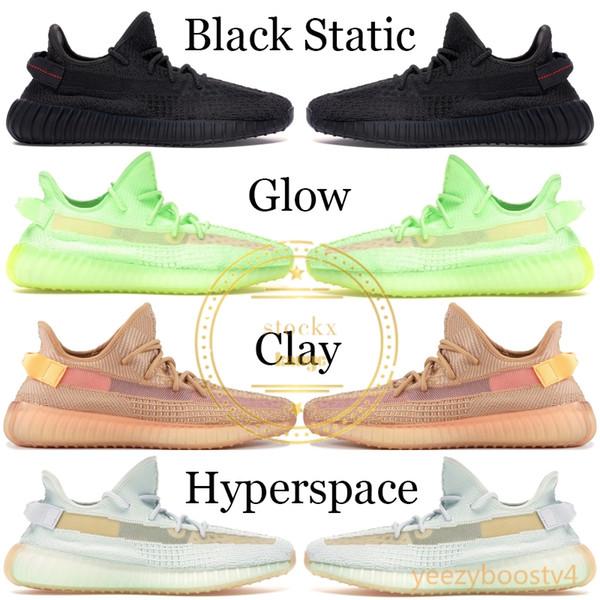 2019 Siyah Yansıtıcı Kanye West Erkekler Tasarımcı Ayakkabı Mens Womens Krem Beyaz Kutu Ile Gerçek Formu Spor Ayakkabı Koşu Sneaker 5-13
