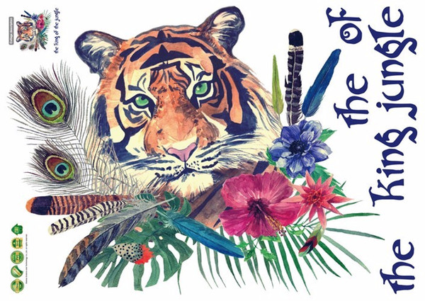 Personalisierte Mode Tiger Feather Wandaufkleber Schlafzimmer Eingang Hintergrund Home Decor Art Decals 3D Wallpaper Dekoration Aufkleber