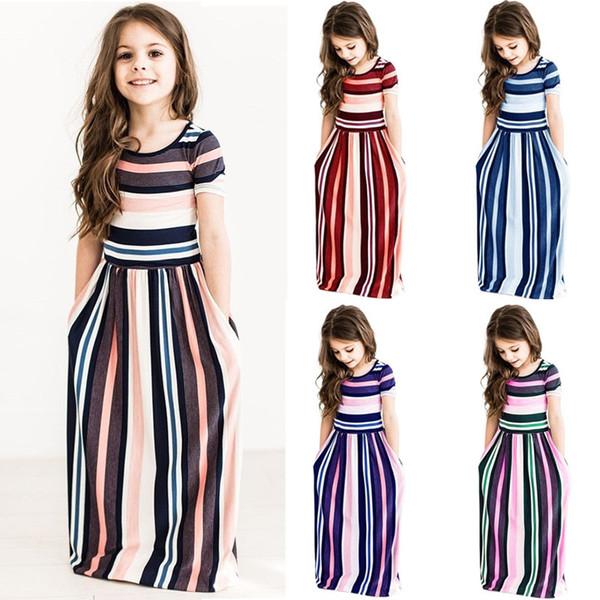 Girls Striped Dresses Summer Short Sleeve Colorful Princess Dress Bohemian Beach Tunic Maxi Dresses Kids Clothing AAA1984