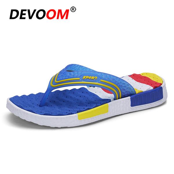 Summer Beach Flip Flops Men Wave Massage Soft Sole Breathable Holes Insole Sand Shoes Top Quality Fashion Slipper Stripe New 44