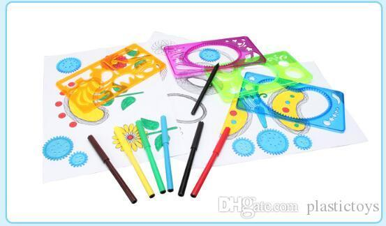 best selling Spirograph Colorful Ruler Drafting Tools For Students Plastic Drawing Toys Children Learning Art Tool Creative Gift