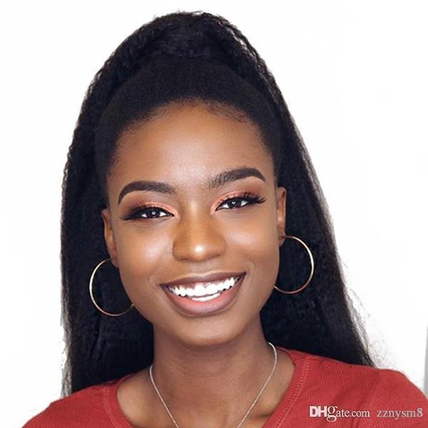 Straight U Part Wig 180% Density Human Hair Brazilian Virgin Hair Upart Wigs Kinky Middle Part Wigs For Black Woman knhj21