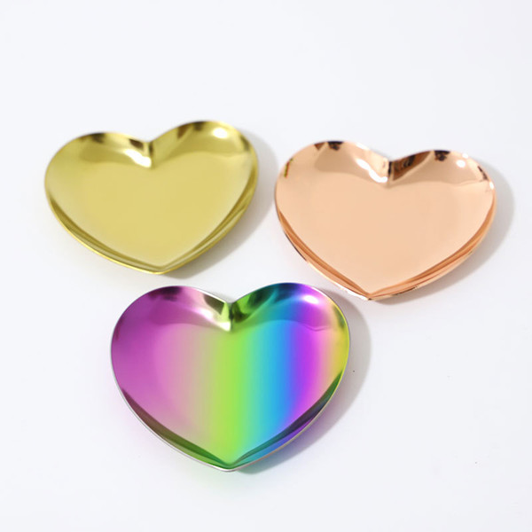 Europe Jewelry Storage Trays Heart Shaped Gold Stainless Steel Jewelry Storage Serving Plate Home Office Instagram Decoration Free DHL 1247