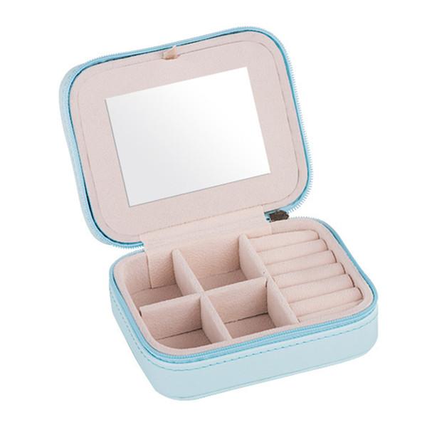 Portable Holder Earring With Mirror Ring Storage Women Organizer Travel Stud Zipper Jewelry Box Mini
