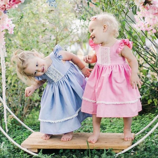 Vestiti da principessa delle ragazze Manicotto della mosca Estate Bambini Pink Blue A-line al ginocchio Piazza collo cotone qualità bambini ragazze abbigliamento Abiti