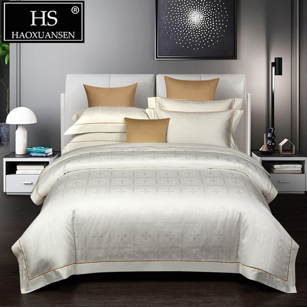 Luxury White High Density Jacquard 4pcs Bedding Sets Comforter Bed Linen Set Queen King Size Cotton Adult Double Bed Sheets