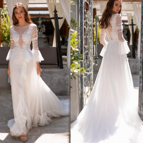 Long Sleeve Fairy Wedding Dresses 2019 Modern Sheer Jewel Neck Lace Pot Tulle Covered Button Bohemian Garden Wedding Gown