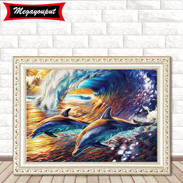 5D Diamond Painting Kits Embroidery Dolphin Cross Stitch kits living room mosaic pattern Home Decor BI233