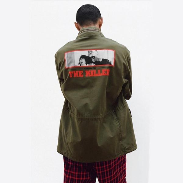 18FW The Killer M-65 Hooded Box Jacket Logo Classic chaqueta con capucha a prueba de viento Moda prendas de vestir exteriores Casual Primavera Otoño Cálido abrigo HFTTJK080